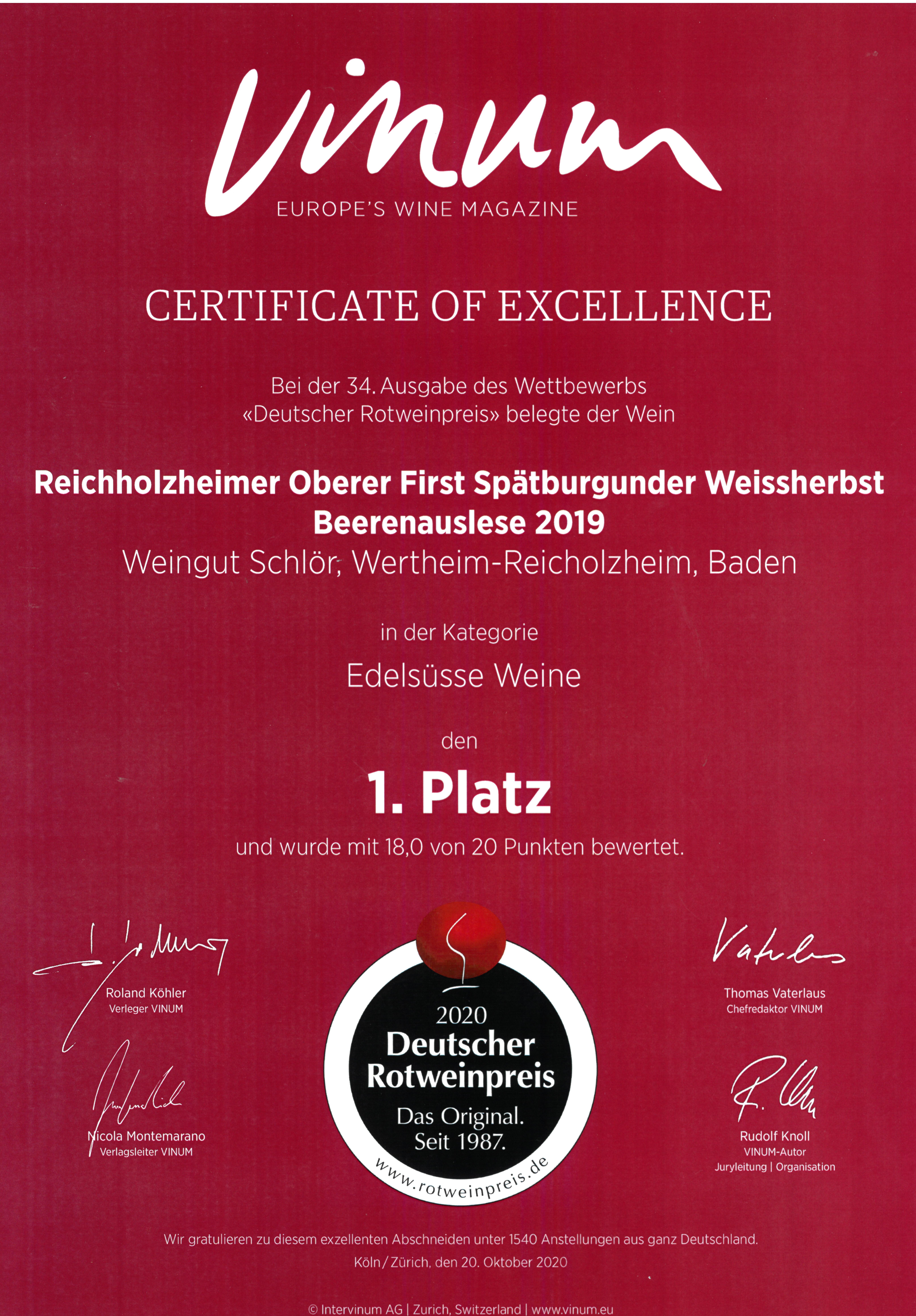 Urkunde-Vinum-Rotweinpreis für Spätburgunder Beerenauslese